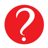 White question mark in red circle. Vector icon. Flat design style Stock Photos