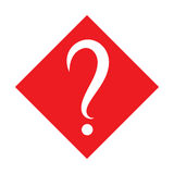 White question mark in red square. Vector icon. Flat design style Royalty Free Stock Photos