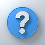 White question mark on round blue signboard background abstract with shadow Royalty Free Stock Image