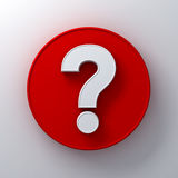 White question mark on round red signboard background abstract with shadow Stock Photos
