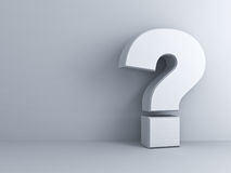 White Question mark on white wall Royalty Free Stock Photography