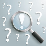 White Question Marks Loupe Exclamation Mark Royalty Free Stock Photography