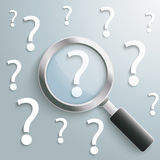 White Question Marks Loupe Stock Photo