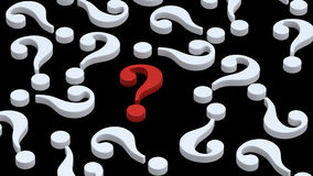 White question marks with red one. Computer generated 3D photo rendering Stock Photos