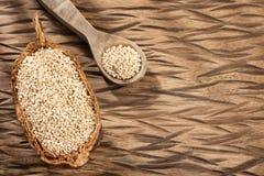 White Quinoa Seeds - Chenopodium quinoa. Wood background stock image