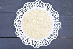 White quinoa on white plate Royalty Free Stock Photography