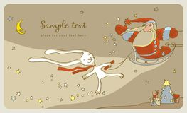 White Rabbit And Santa Claus Stock Images
