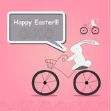 White rabbit on bicycle Stock Photo