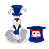 White rabbit in blue hat. bunny in waistcoat. Cylinder is Mad Ha Royalty Free Stock Image