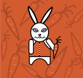 White rabbit with carrot Stock Photography
