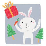 White rabbit with carrot and gift box Stock Image
