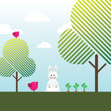 White rabbit, carrots, birds and trees Stock Images