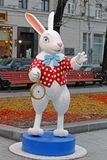 White Rabbit with a clock from `Alice in Wonderland` on Tverskoy Boulevard at the festival `Journey to Christmas` in Moscow. Moscow, Russia - December 21, 2015 stock photos