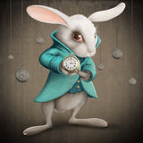 White rabbit with clock. White Elegances rabbit indicates the clock - illustration Stock Images