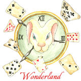 White rabbit on the clock and old playing cards. Watercolor fairy tale  vector illustration. Hand drawn vintage art work with white rabbit on the clock and old Stock Photos