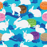 White rabbit colorful moon cake seamless pattern Royalty Free Stock Photos