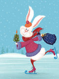 White rabbit. Vector cute fluffy rabbit ice-skating and holding a decorated with vegetables christmas tree and a filled with gifts bag Royalty Free Stock Image