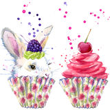White rabbit and dessert with whipped cream T-shirt graphics, rabbit and dessert illustration with splash watercolor textured back Stock Images