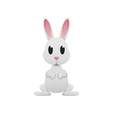 White rabbit easter is cute cartoon design of paper cut Stock Images