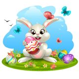White rabbit with eggs vector illustration