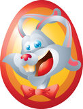 White rabbit face on egg Royalty Free Stock Photo