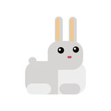 White Rabbit In Flat Style Royalty Free Stock Photo