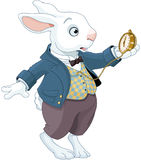 White Rabbit Holds Watch. Illustration of white rabbit holds watch royalty free illustration