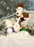 White Rabbit with Holiday Friends Royalty Free Stock Photo