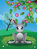 White Rabbit on Lawn royalty free illustration