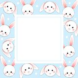 White Rabbit on Light Blue Banner Card. Vector Illustration.  stock illustration