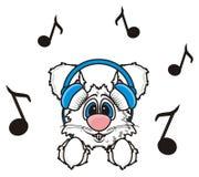 White rabbit listening to music with headphones Stock Photos