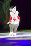 White Rabbit One. GREEN BAY, WI - MARCH 10: White Rabbit from Alice in Wonderland with a clock and clothes and skates at the Disney on Ice Treasure Trove show at Royalty Free Stock Photos