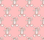 White Rabbit on Pink Background. Vector Illustration. Royalty Free Stock Photo