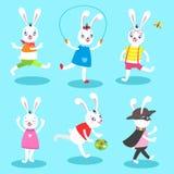 White rabbit 6 poses Royalty Free Stock Images