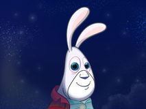 White rabbit in red jacket. Royalty Free Stock Image