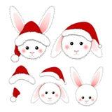 White Rabbit Santa Claus Isolated On White Background. Vector Illustration Stock Images