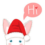 White Rabbit with Santa Hat Sneaking. Greeting Card Christmas Day. Vector Illustration. Stock Photo