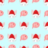 White Rabbit Sneaking Christmas Day on Blue Background. Vector Illustration. Royalty Free Stock Image