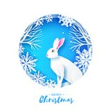 White rabbit in snowy frame. Merry Christmas Greeting card. Origami winter season. White snowflakes. Happy New Year. Blue. Circle tunnel frame. Blue. Vector stock illustration