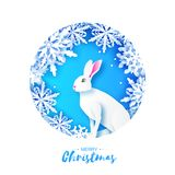 White rabbit in snowy frame. Merry Christmas Greeting card. Origami winter season. White snowflakes. Happy New Year. Blue. Circle tunnel frame. Blue. Vector vector illustration