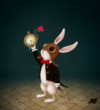 White rabbit and Time. Conceptual illustration with character from fairy tale Wonderland with White Rabbit and destruction of Clock. Computer graphics royalty free illustration