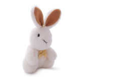 White rabbit toy doll isolated over white. Stuffed soft white rabbit toy doll isolated over white Stock Photo