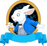 White Rabbit with watch design Royalty Free Stock Photos