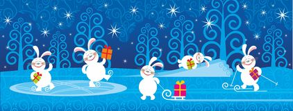 White rabbits with gifts vector illustration