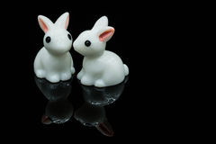 White rabbits. Two white little rabbits bonding Stock Photo