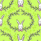White rabbits with wishes Happy Easter seamless pattern on green. White elegant bunny in willow wreath animal spring holiday Easter seamless pattern on light Royalty Free Stock Images