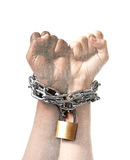 White race hand chain locked together with black ethnicity woman multiracial understanding. White Caucasian hand chained with iron chain and locked together with Royalty Free Stock Image