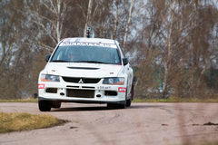 White racing car on Rally Masters Show Royalty Free Stock Photos