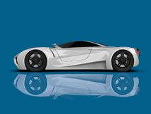 White racing concept car. Image of a car on a blue glossy background. 3d rendering. White racing concept car. Image of a car on a blue glossy background. 3d Stock Photo