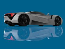 White racing concept car. Image of a car on a blue glossy background. 3d rendering. White racing concept car. Image of a car on a blue glossy background. 3d Royalty Free Stock Photos